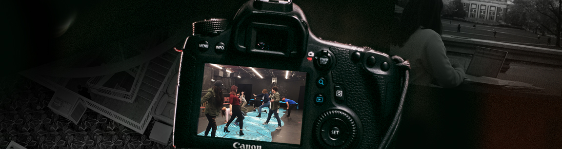 Camera taking picture of students dancing