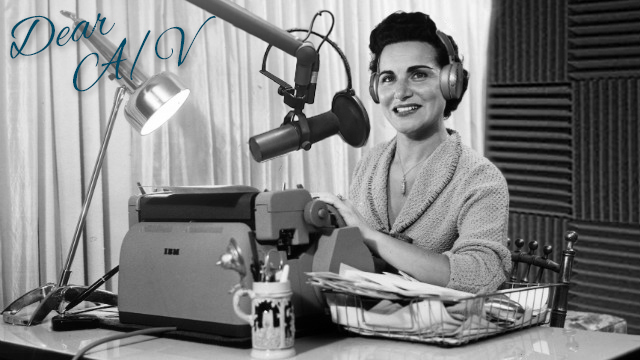 A black and white photo of Dear Abby journalist next to a typewriter with modern audio equipment in the frame.